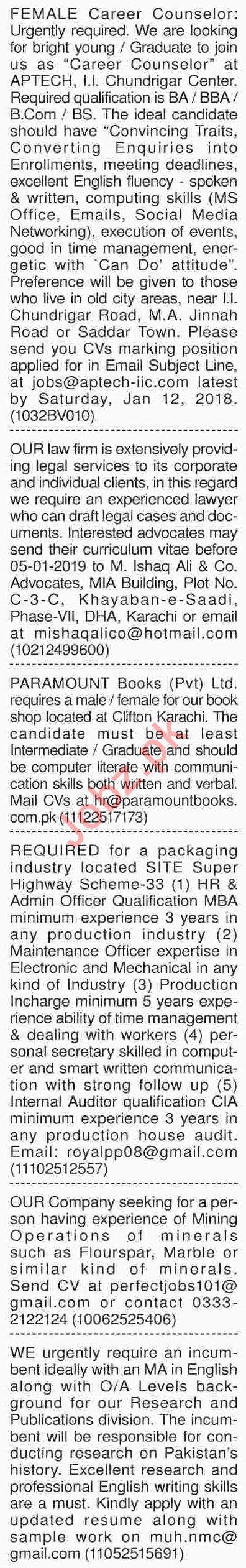Dawn Sunday Newspaper General Classified Ads 30/12/2018