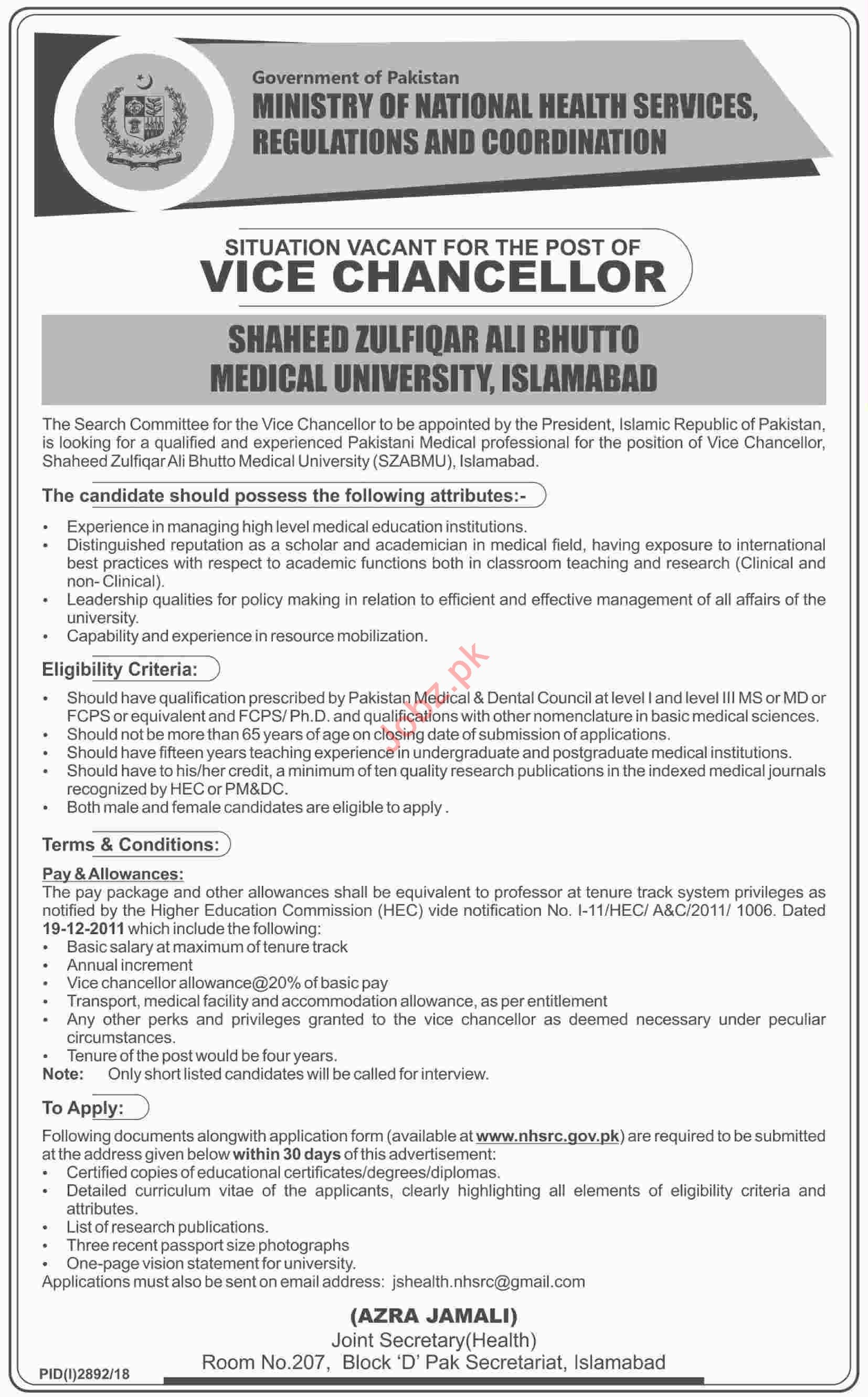 Vice Chancellor Job Opportunities at SZABIST