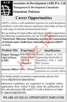 Associate in Development AID Project Manager Jobs 2019