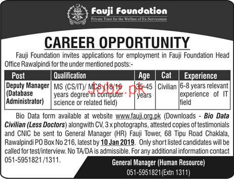 Deputy Manager Job in Fauji Foundation