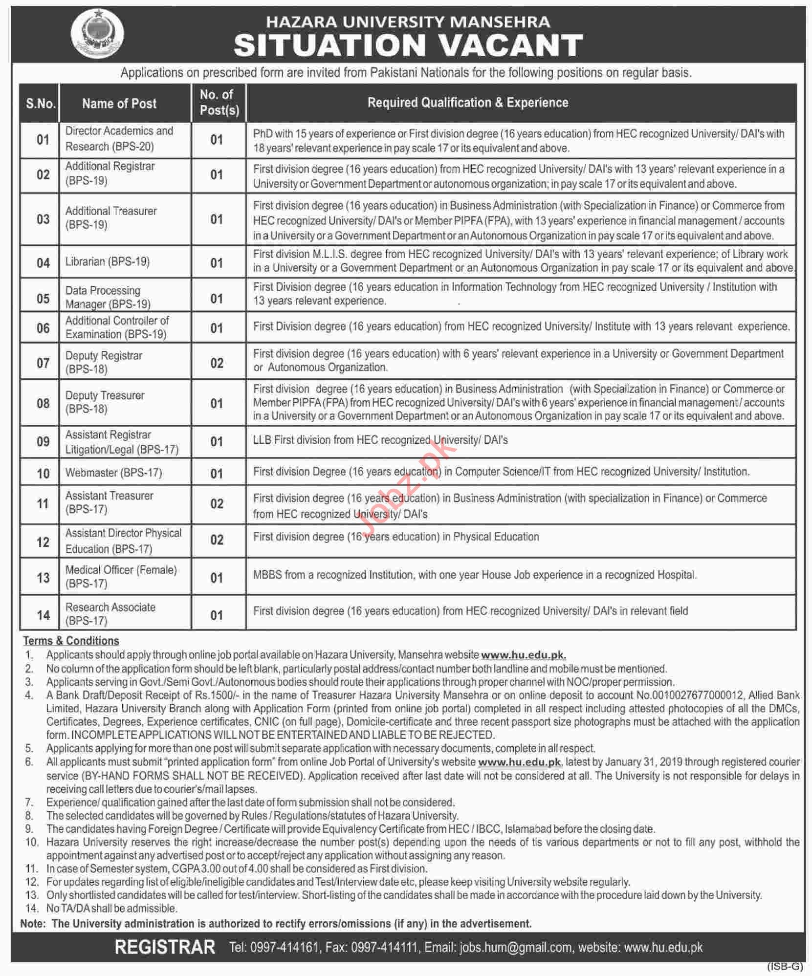 Hazara University Mansehra Administrative Staff Jobs 2019