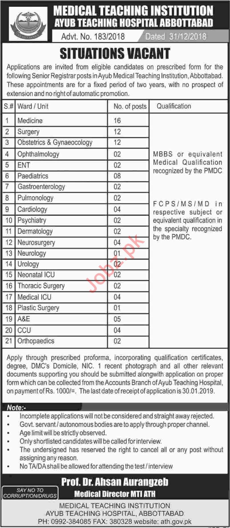 MTI Ayub Teaching Hospital Abbottabad Jobs 2019