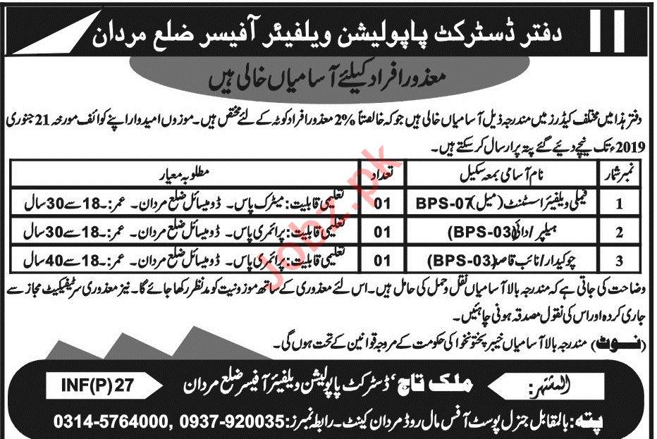 District Population Welfare Mardan Jobs 2019
