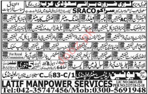Electrician Jobs in Sraco Company Saudi Arabi
