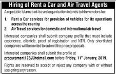 Rent A Car & Air Travel Agents Jobs in Private Company