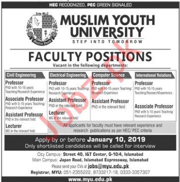 Muslim Youth University Professor Civil Engineering Jobs