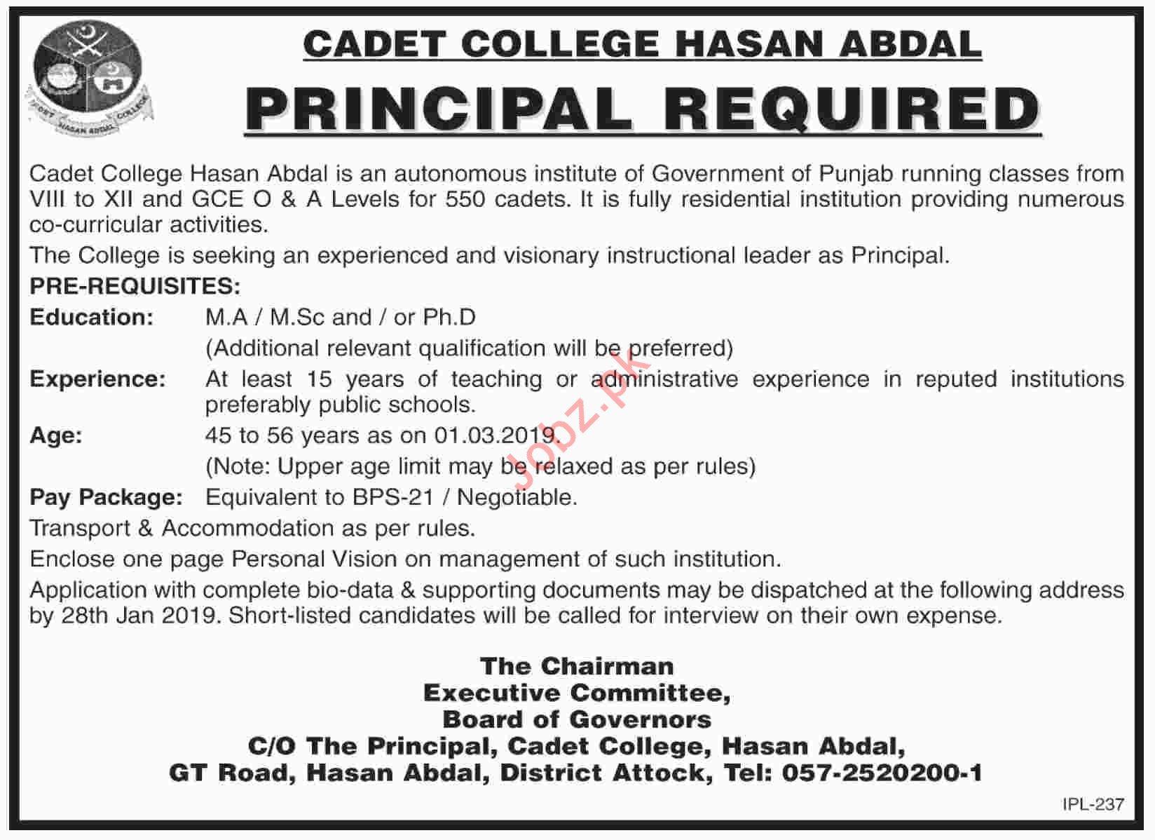Cadet College Hasan Abdal Principal Job 2019