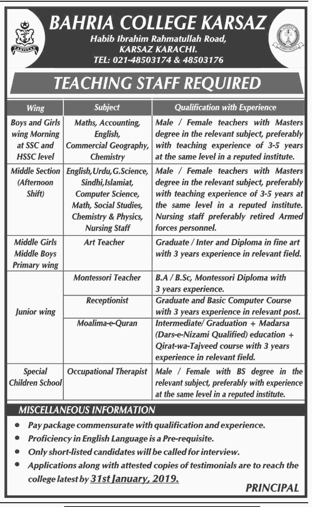 Bahria College Karsaz Teaching Staff Jobs 2019