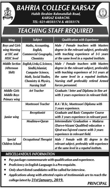 Teaching Staff Jobs in Bahria College Karsaz