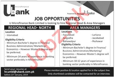 U Bank Islamabad Jobs 2019 for Area Managers
