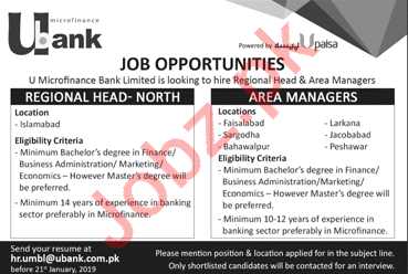 U Microfinance Bank Limited Jobs 2019