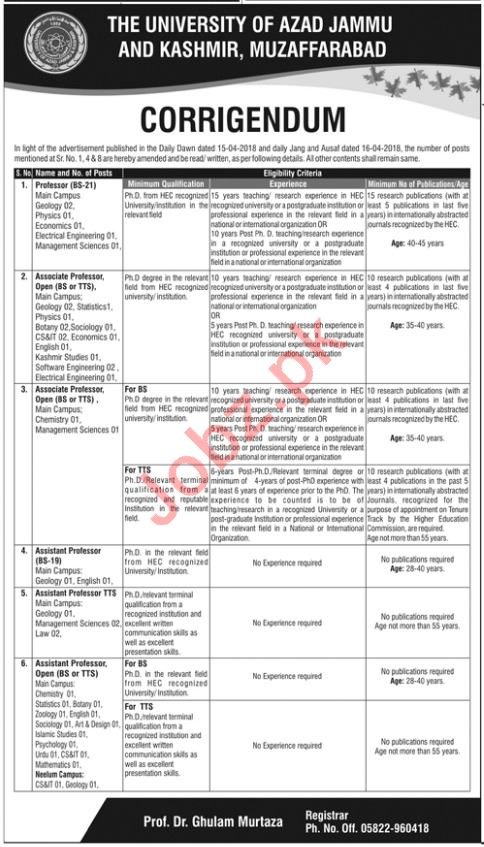 University of Azad Jammu & Kashmir Professor Geology Jobs