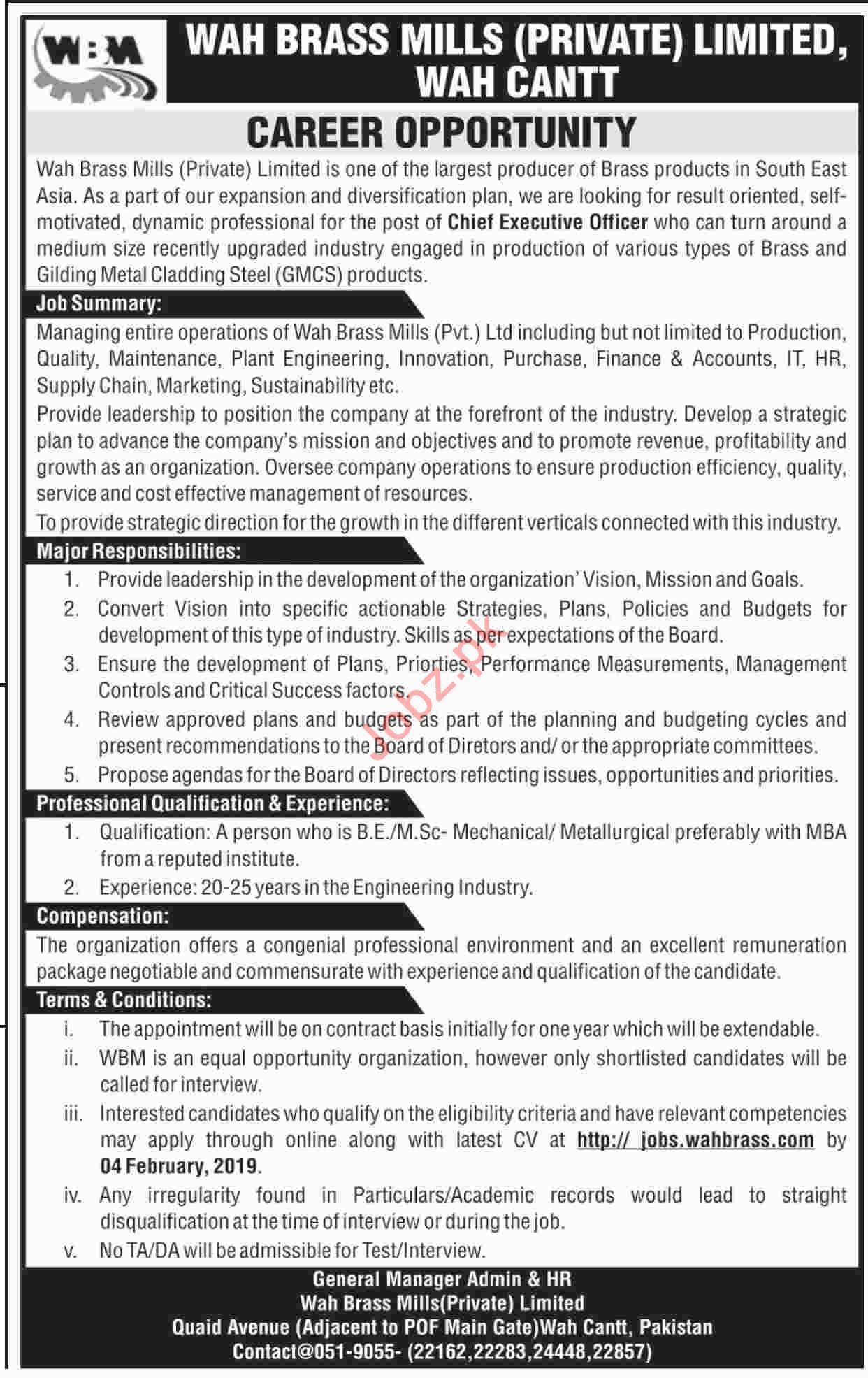 Wah Brass Mills Pvt Limited Chief Executive Officer Jobs