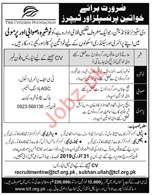 The Citizens Foundation TCF Jobs 2019