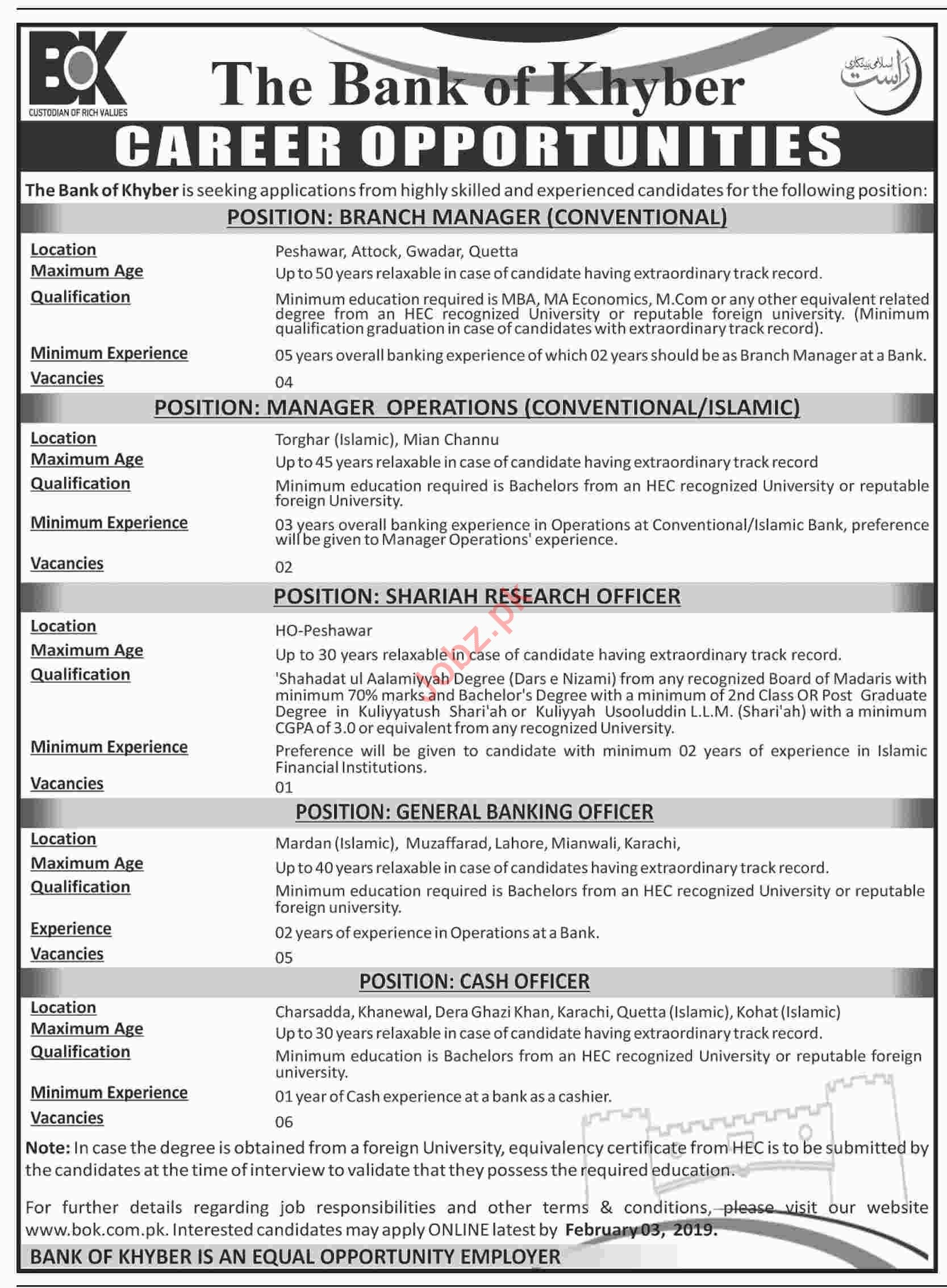 The Bank of Khyber Branch Manager Conventional Jobs