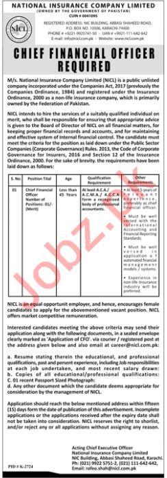 National Insurance Company Limited NICL CFO Careers
