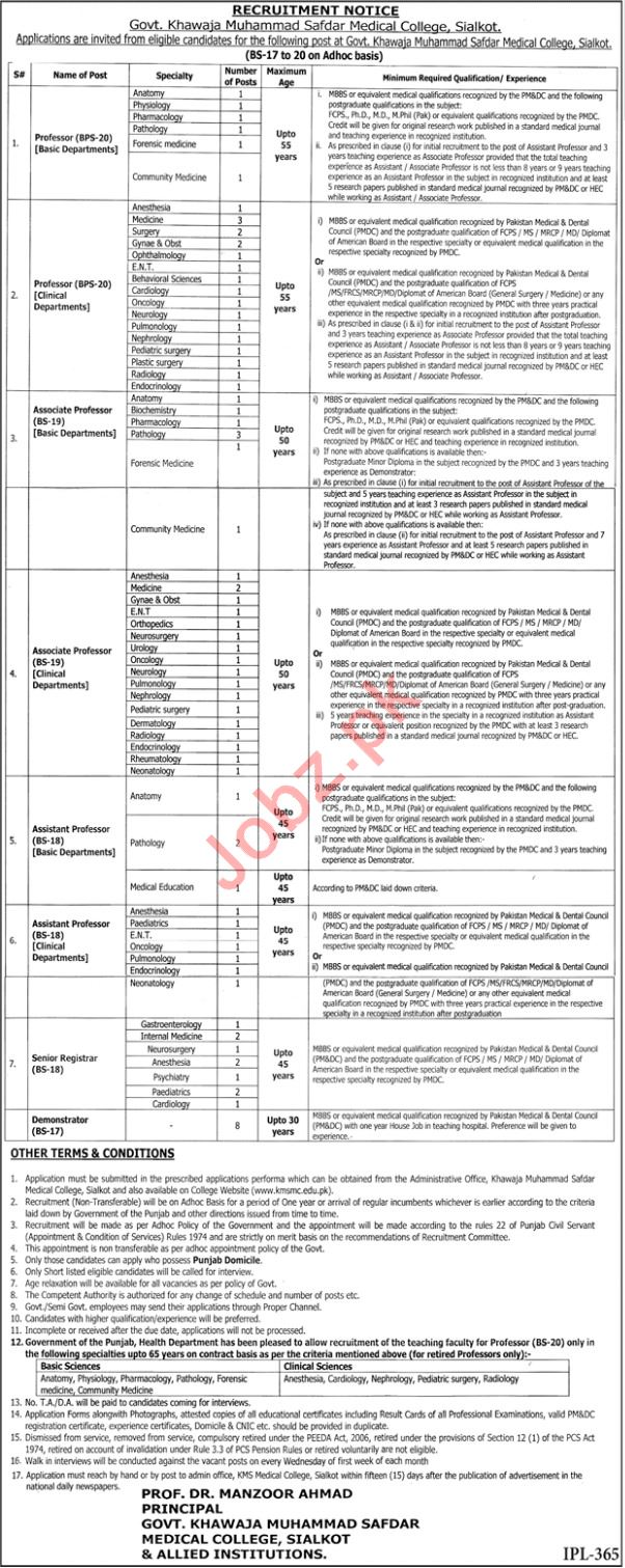 Khawaja Muhammad Safdar Medical College Professor Careers