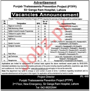 Punjab Thalassaemia Prevention Programme PTPP Jobs