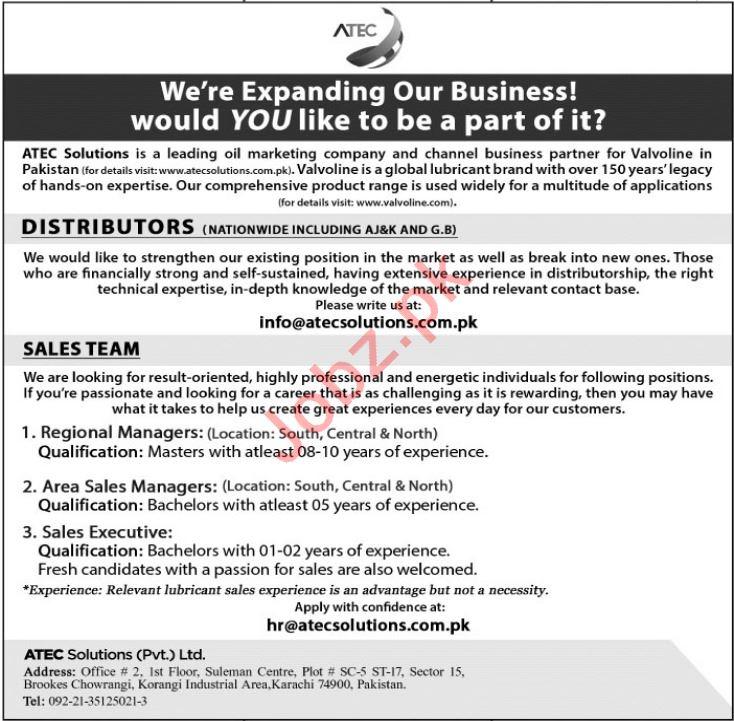 ATEC Solutions Pvt Ltd Distributor Jobs