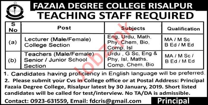 Fazaia Degree College Risalpur Teaching Jobs 2019