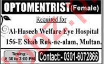 Medical Optometrist Job 2019 in Multan