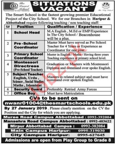 The Smart School Jobs 2019 For Haripur & Abbottabad KPK