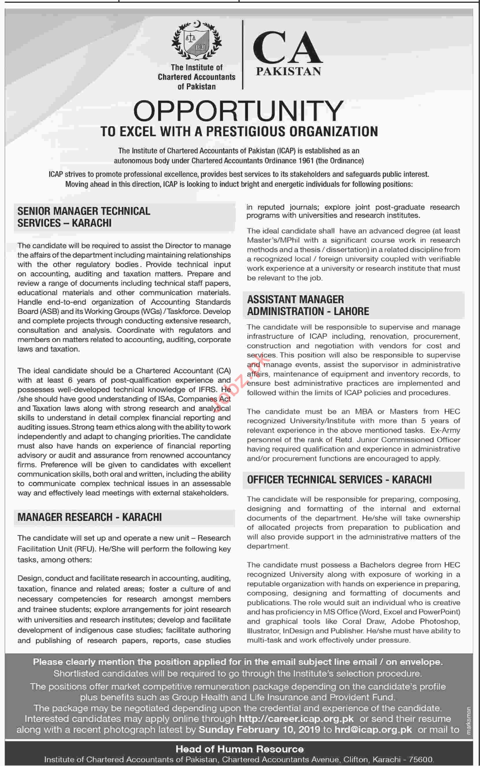 Senior Manager Technical Services Jobs at CA Pakistan