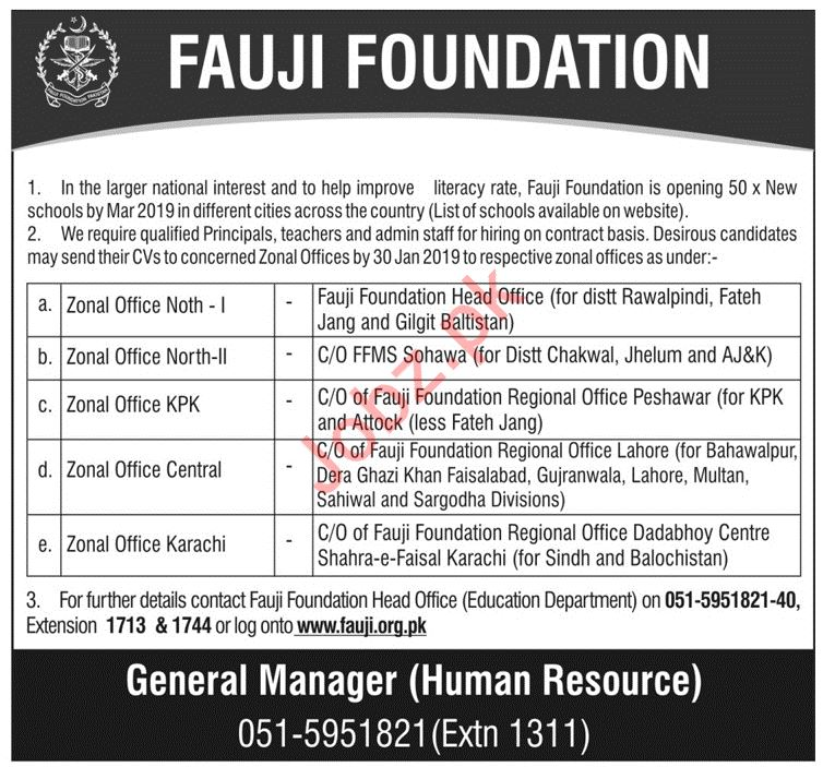 Fauji Foundation Jobs 2019 For Principals, Teachers & Admin