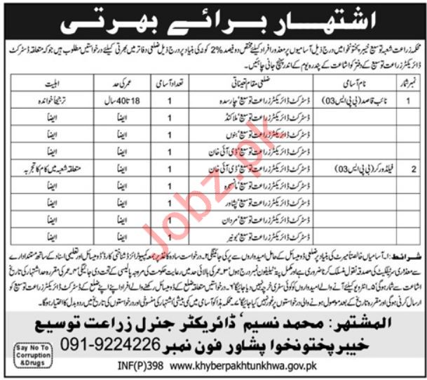 Agriculture Department Jobs For Naib Qasid & Field Workers