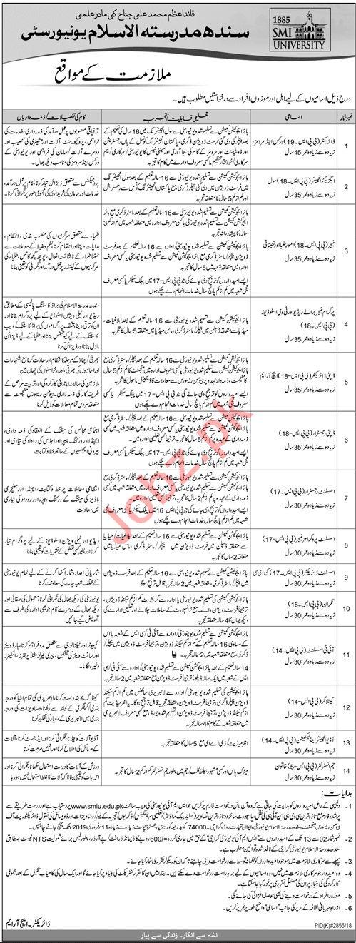 Sindh Madressatul Islam University Director Works Jobs
