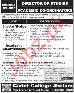 Cadet College Jhelum Jobs 2019 for Director Studies