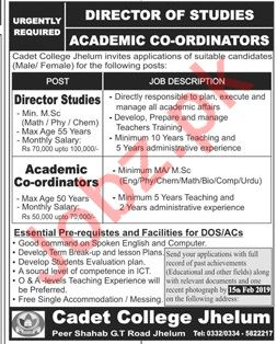 Cadet College Jhelum Teaching Staff Jobs 2019