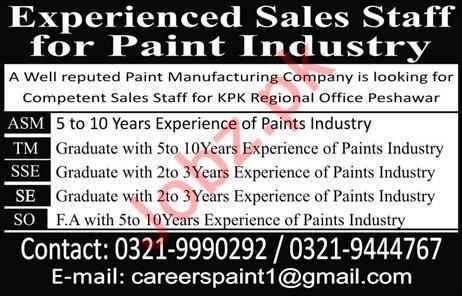 Sales Jobs 2019 For Paint Industry in Peshawar KPK