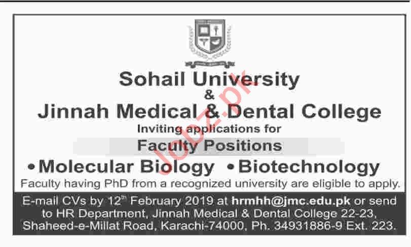 Molecular Biology Professor Jobs at Sohail University
