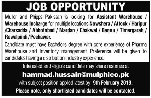 Muller & Phipps Pakistan Assistant Warehouse Jobs 2019
