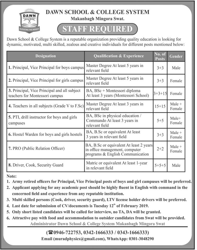 Dawn School & College System Principal Jobs 2019