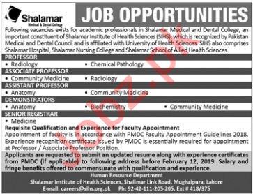 Shalamar Medical & Dental College Professor Radiology Jobs