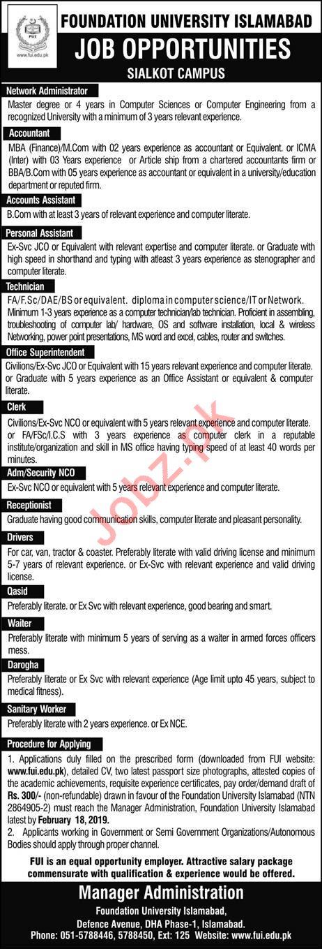 Foundation University Network Administrator Jobs