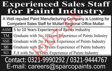 Sparco Paints Area Sales Manager Jobs
