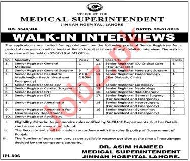 Jinnah Hospital Walk In Interviews 2019