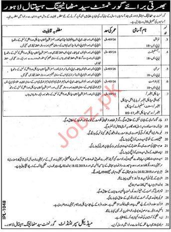 Government Syed Mittha Teaching Hospital Medical Jobs 2019