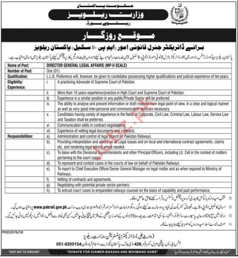 Ministry of Railways Director General Legal Affairs Jobs