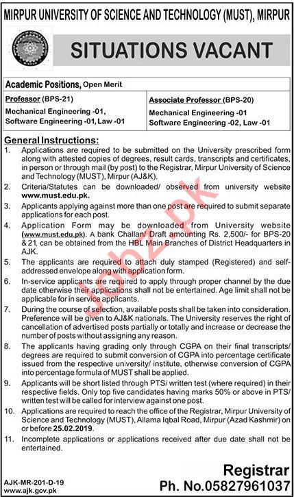 Mirpur University of Science & Technology MUST Jobs via PTS
