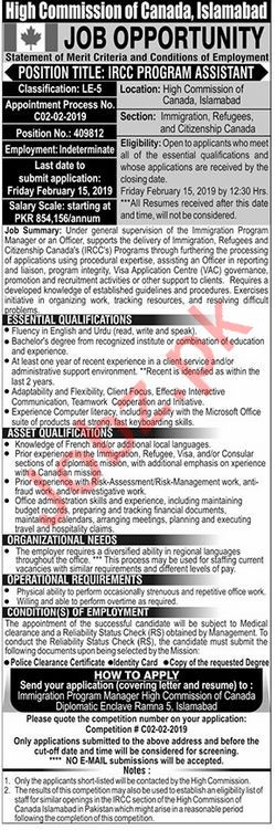 High Commission of Canada Job For Islamabad