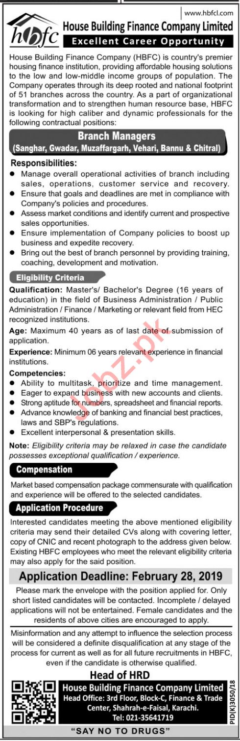 Branch Manager Jobs at HBFCL