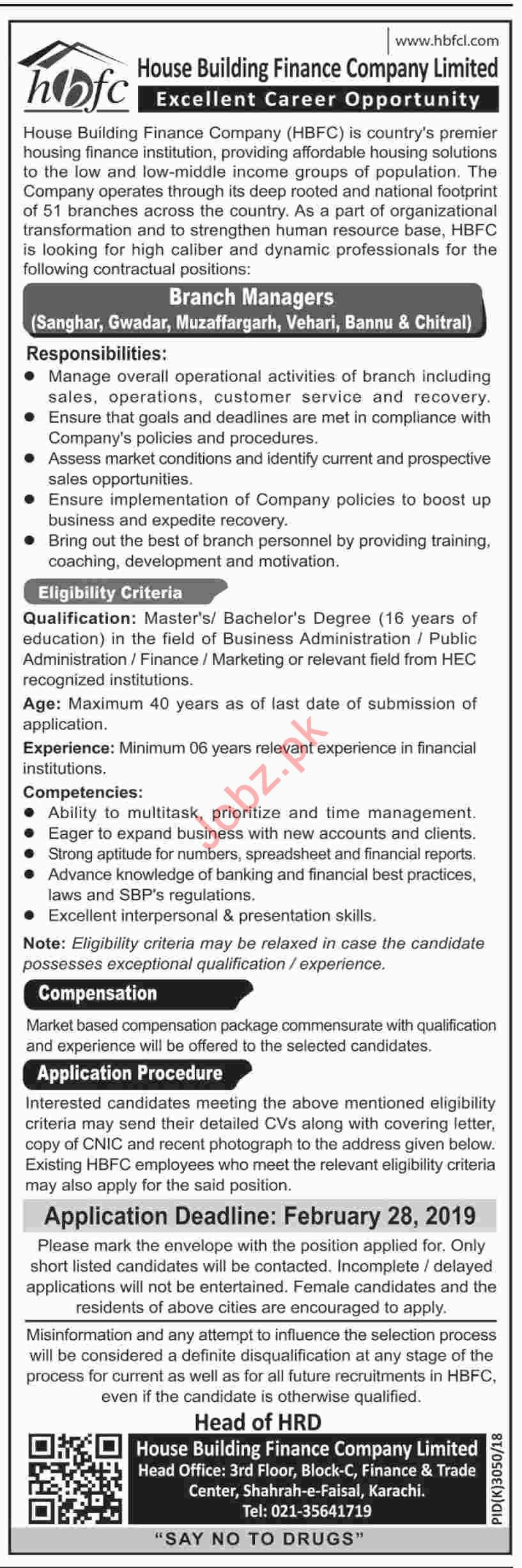 Branch Manager Job Opportunities at HBFCL