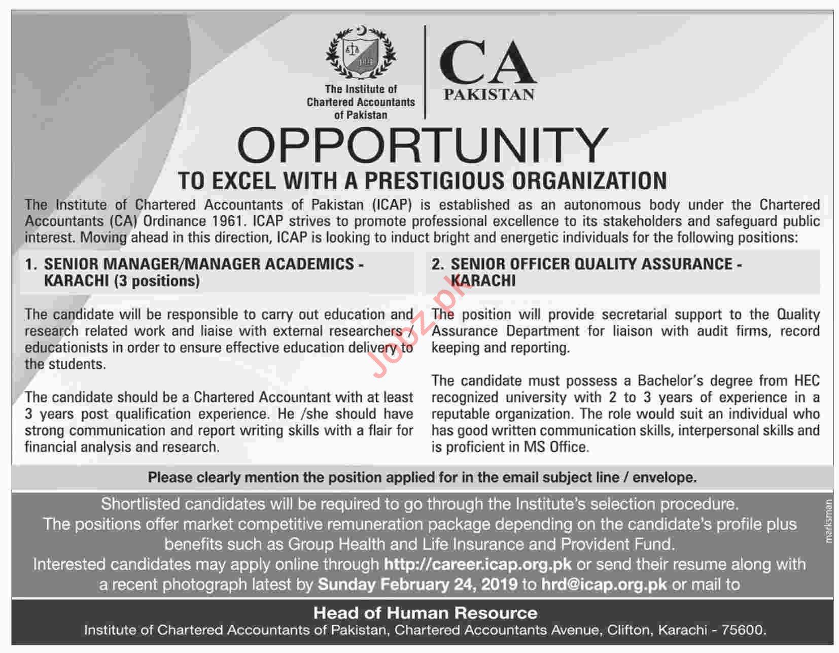 Manager Academic Jobs at CA Pakistan