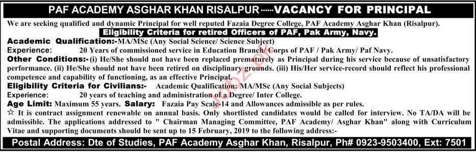 Pakistan Airforce Academy Principal Jobs 2019