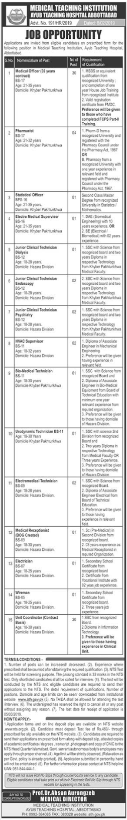 Ayub Teaching Hospital ATH Abbottabad Jobs 2019 for Doctors