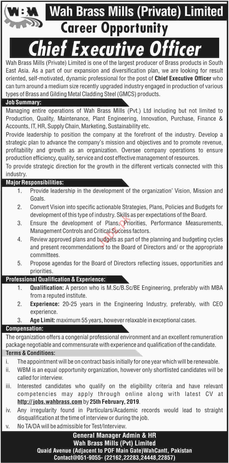 Wah Brass Mills Jobs 2019 for Chief Executive Officer